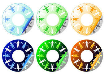 Farandole stickers - chaine humaine