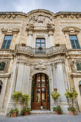 The Castellania building facade in Valletta, Malta