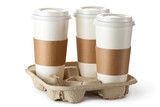 Three take-out coffee in holder