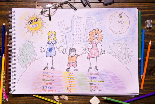 Different family. Children draw.
