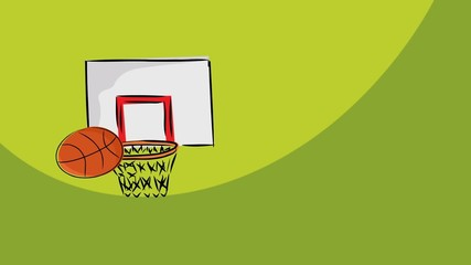 Loopable cartoon of basketballs missing the hoop