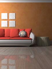 Wohndesign - Sofa weiß-rot vor orangener Tapete