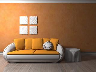 Wohndesign - Sofa weiß-orange vor orangener Tapete