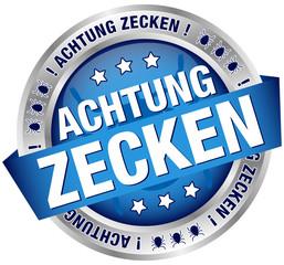 "Button Banner ""Achtung Zecken"" blau/silber"