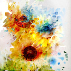 Watercolor sunflowers © Guz Anna