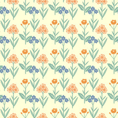 Seamless red and blue flowers pattern