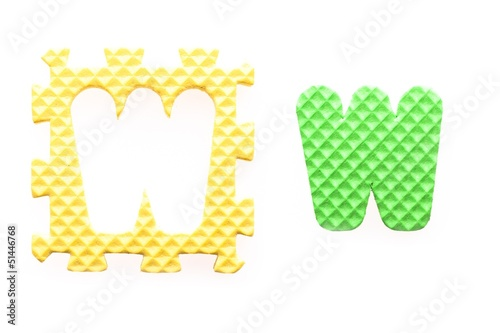 Colored letters W alphabet for children