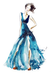 Blue dress fashion illustration, watercolor painting