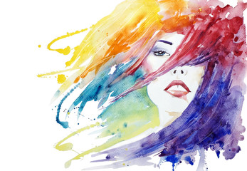 Beauty,  face close-up fashion illustration