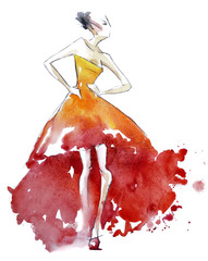 Red dress fashion illustration, watercolor painting