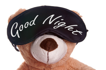 Teddy with sleep mask and the words Good Night