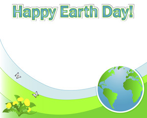 Earth Day banner with the globe.
