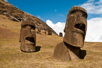 Moais at Rano Raraku, Easter Island, Chile