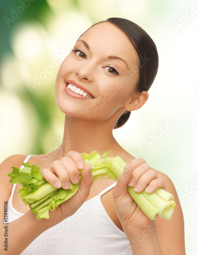 woman with fresh celery