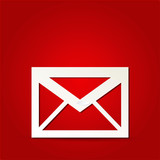 EPS Vector 10 - mail icon on isolated on red