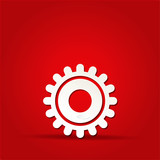 EPS Vector 10 - gear icon on isolated on red