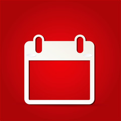 EPS Vector 10 - calendar icon on isolated on red