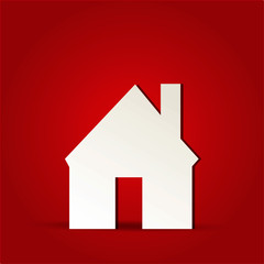 EPS Vector 10 - home house icon on isolated on red