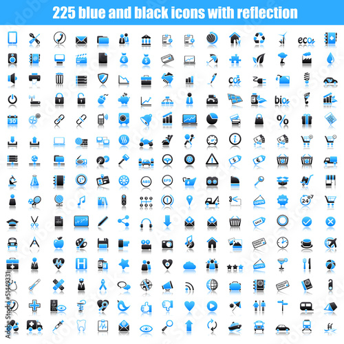 blue icons with reflection