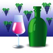 green bottle and wineglass
