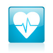cardiogram blue square web glossy icon