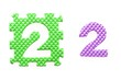 Colored puzzles with number 2 for children