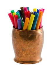 colorful felt tip pens retro copper bowl isolated