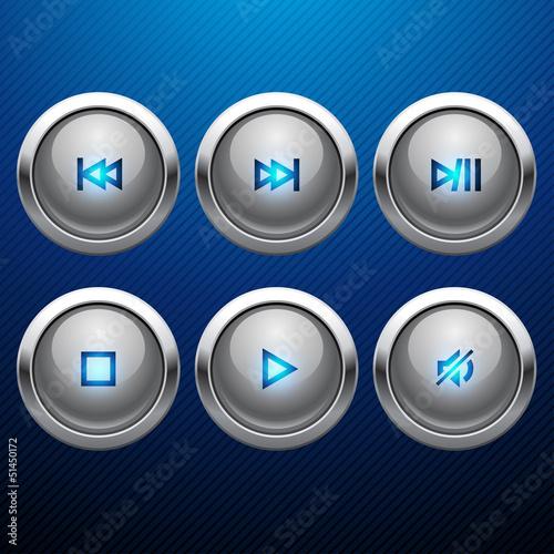 Glossy multimedia control web icon set.