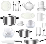 crockery and kitchen ware photo-realistic vector set poster