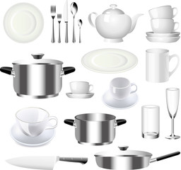 crockery and kitchen ware photo-realistic vector set