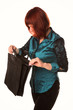 Beautiful smiling business woman holding black briefcase