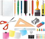 Drawing and office tools photo-realistic vector set