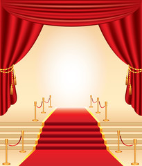 red carpet, stairs and curtains photo-realistic vector