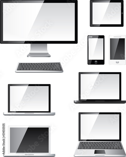 digital computer devices photo-realistic vector set