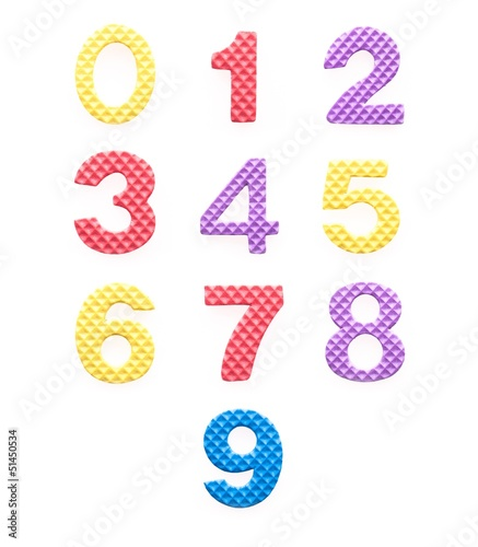 Colored numbers set for children isolated white