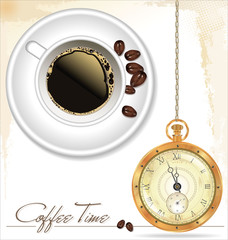 Coffee time. Coffee cup, coffee beans and old watch