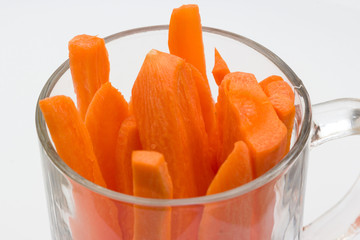 Carrots in glass cup