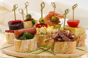 Spanish Cuisine. Tapas. Tray of montaditos.