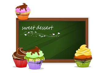 Cupcake, Muffin und Tafel