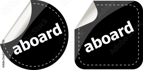 aboard word black stickers set icon button
