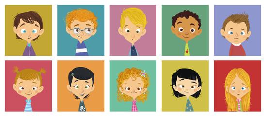 caras de niños y niñas