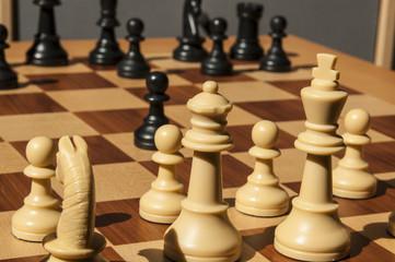 Schachfiguren auf dem Schabrett