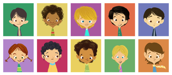 caras de niñas y niños