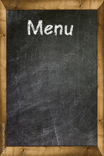 Menu title written with chalk on blackboard