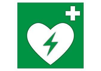 Rettungszeichen Defibrillator Schockgeber