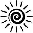 Schwarze, spiralenförmig gezeichnete Sonne – Vektor/freigestellt