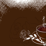 Cup of coffee with rose