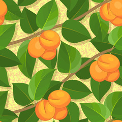 seamless peach on branches background pattern