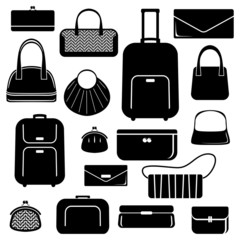 Bags and suitcases icons set
