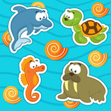 marine animals icon set